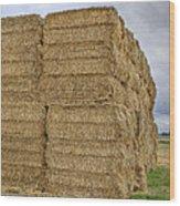 Bales Of Hay On Farmland Wood Print