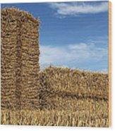 Bales Of Straw Against Blue Sky Wood Print