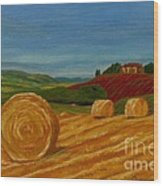 Field Of Golden Hay Wood Print