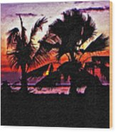 Bali Sunset Impasto Paint Version Wood Print