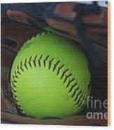 Ball And Glove Wood Print
