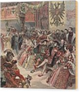 Ball At The Court, Illustration Wood Print