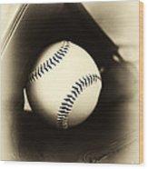 Ball In Glove Wood Print by John Rizzuto