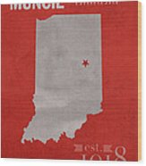 Ball State University Cardinals Muncie Indiana College Town State Map Poster Series No 017 Wood Print