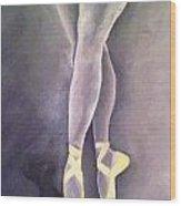 Ballerina And Kitten Wood Print
