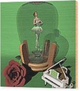 Ballerina In A Bottle - Nanashi Wood Print