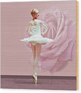 Ballerina In White With Pink Rose  Wood Print by Delores Knowles