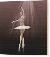 Ballerina On Pointe In Russet Tint  Wood Print