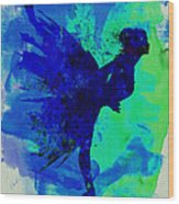 Ballerina On Stage Watercolor 2 Wood Print