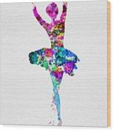 Ballerina Watercolor 1 Wood Print