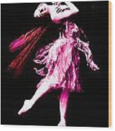 Ballerina Wings Pink Portrait Art Wood Print