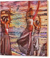 Ballet On The Beach Wood Print