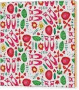 Ballet Scribble Fleur Wood Print