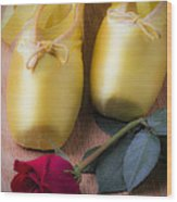 Ballet Shoes With Red Rose Wood Print