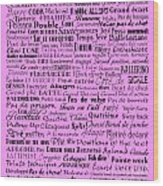 Ballet Terms Black On Pink  Wood Print