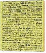 Ballet Terms Black On Yellow Wood Print
