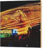 Ballons Ride At Night Wood Print