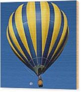 Balloon And The Moon Wood Print