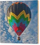 Balloon At Sunrise Wood Print