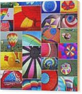 Balloon Fantasy Collage Wood Print