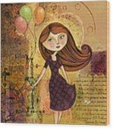 Balloon Girl Wood Print