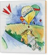 Ballooning In France Wood Print