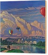 Ballooning On The Rio Grande Wood Print