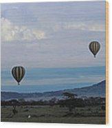 Balloons Above Serengeti. Wood Print