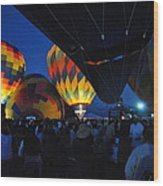 Balloons In The Crowd Wood Print