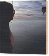 Balloons Over Burgundy Wood Print
