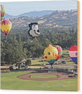 Balloons Over Wine Country Wood Print