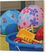 Balls And Toys In Buckets Wood Print