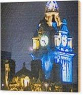 Balmoral Clock Tower On Princes Street In Edinburgh Wood Print