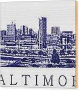 Baltimore Blueprint Wood Print