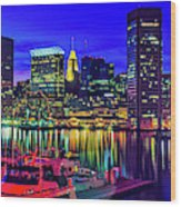 Baltimore Harbor By Night, Baltimore Wood Print