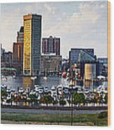 Baltimore Harbor Skyline Panorama Wood Print