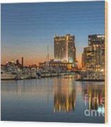 Baltimore Inner Harbor East Skyline At Dawn I Wood Print