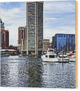 Baltimore Inner Harbor Marina Wood Print by Olivier Le Queinec