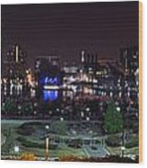 Baltimore Inner Harbor Skyline Night Panorama Wood Print