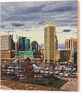 Baltimore Inner Harbor Skyline Panorama Wood Print