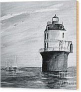 Baltimore Lighthouse In Gray  Wood Print