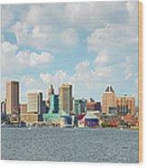 Baltimore Skyline And Inner Harbor Wood Print