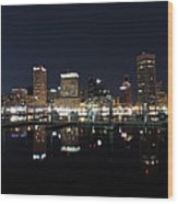 Baltimore Skyline At Night Wood Print