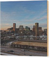 Baltimore Skyline At Sunset From Federal Hill Wood Print
