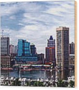 Baltimore Skyline Wood Print by Olivier Le Queinec