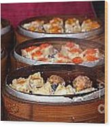 Bamboo Steamers With Dim Sum Dishes Wood Print