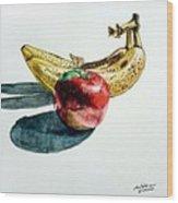 Bananas And An Apple Wood Print