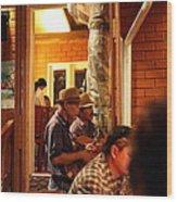 Band At Palaad Tawanron Restaurant - Chiang Mai Thailand - 01135 Wood Print