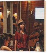 Band At Palaad Tawanron Restaurant - Chiang Mai Thailand - 01137 Wood Print