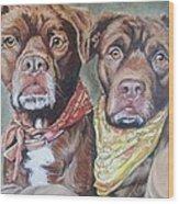 Bandana Dogs Wood Print by Stephanie Dunn